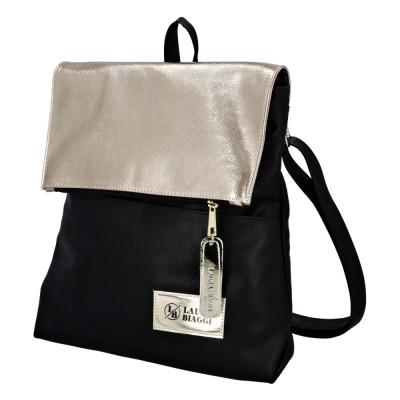 Moderní batůžek s klopou Laura Biaggi Giar černo-zlatý