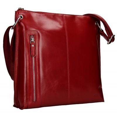 Dámska kožená kabelka LAGEN 3287 červená lesklá