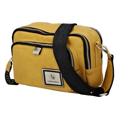 Dámska štýlová koženková kabelka Laura Biaggi Sport žltá