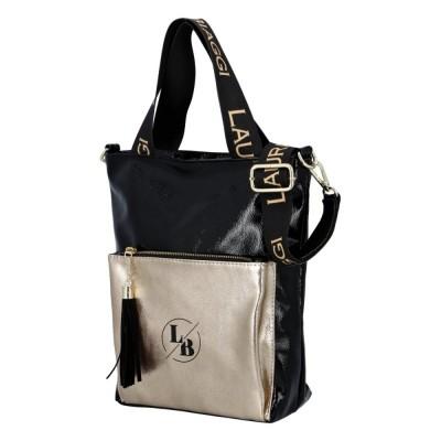 Dámska luxusná kabelka Laura Biaggi Sue čierno-zlatá
