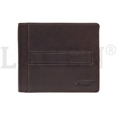 Pánska kožená peňaženka LAGEN 10210 tmavo hnedá