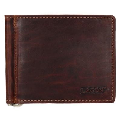 Pánska kožená dolarovka LAGEN 5172 hnedá