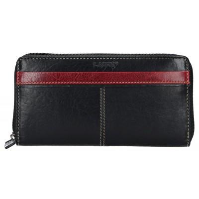 Dámska kožená peňaženka LAGEN 26512 čierno / červená