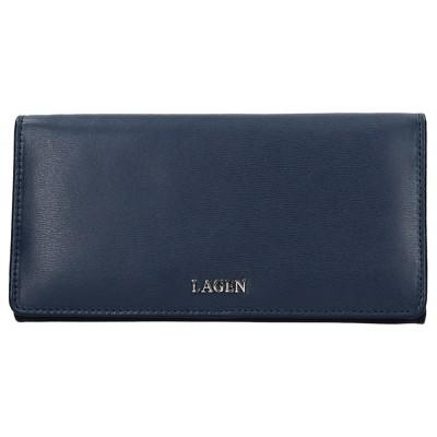 Dámska kožená peňaženka LAGEN 50310 tmavo modrá