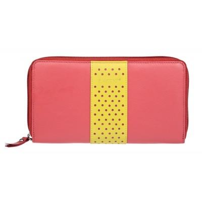 Dámska kožená peňaženka LAGEN V18 korálová / citrónová