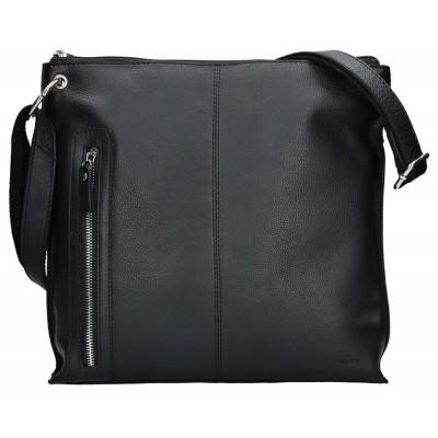 Dámska kožená kabelka LAGEN 3287 čierna matná