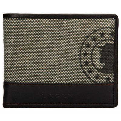 Pánska kožená peňaženka LAGEN 50448 hnedo / zelená