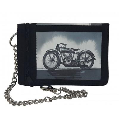 Látková peňaženka čierna s potlačou motorky