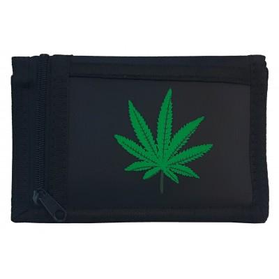 Látková peňaženka čierna s potlačou konopí