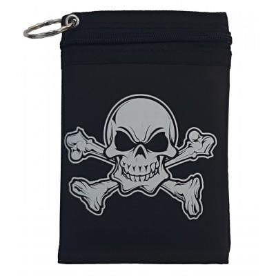 Látková peňaženka čierna s potlačou lebky