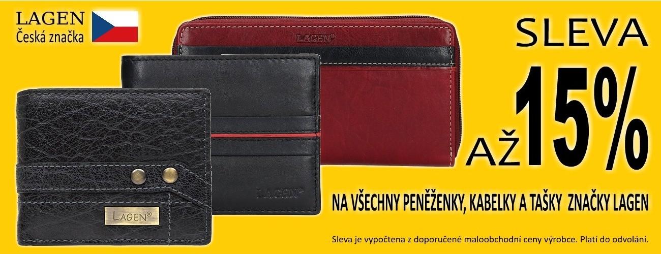 Sleva až 15% na všechny peněženky, kabelky a tašky české značky LAGEN
